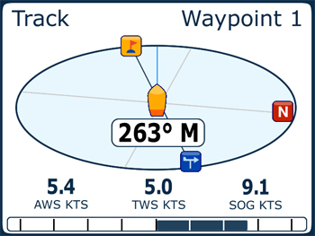 Raymarine ST70+ Instrument Waypoint screen
